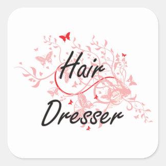 Hair Dresser Artistic Job Design with Butterflies Square Sticker