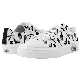 Hair Dresser Tools Pattern Black & White Low-Top Sneakers
