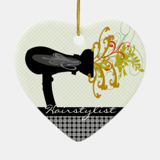 Hair Dryer Blowing  Flowers Hair Stylist Ceramic Heart Ornament