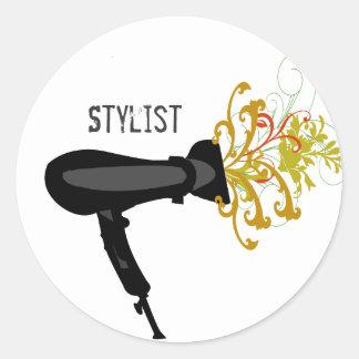 Hair Dryer Stylist Florals Classic Round Sticker