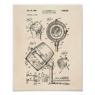 Hair Dryer System 1960 Patent Art Old Peper Poster