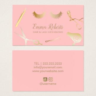 Hair & Eyelash Extensions Salon Blush Pink & Gold Business Card