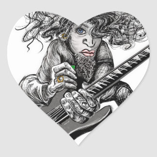 Hair Guitar Heart Sticker