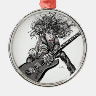 Hair Guitar Silver-Colored Round Ornament