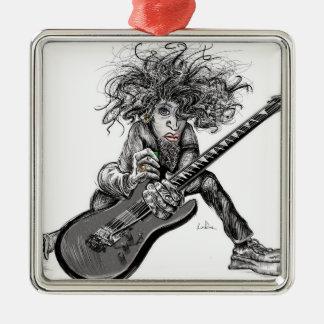 Hair Guitar Silver-Colored Square Ornament