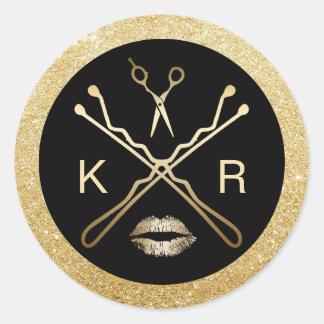Hair & Makeup Artist Modern Gold Beauty Salon Round Sticker