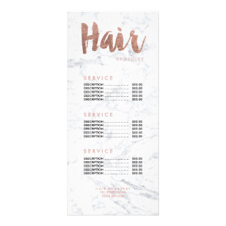 Hair modern gold typography marble price list custom rack card