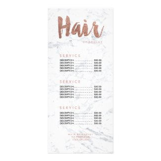 Hair modern gold typography marble price list