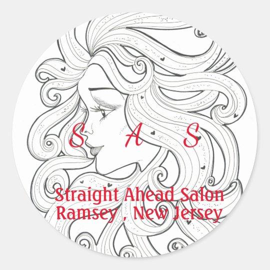 Hair Salon Beauty Classic Round Sticker