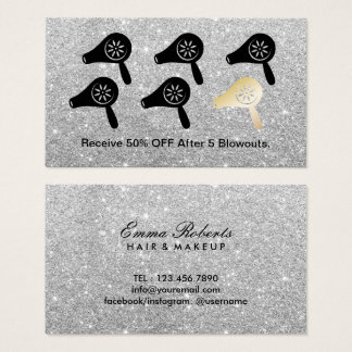 Hair Salon Blow Dry Bar Silver Glitter Loyalty Business Card