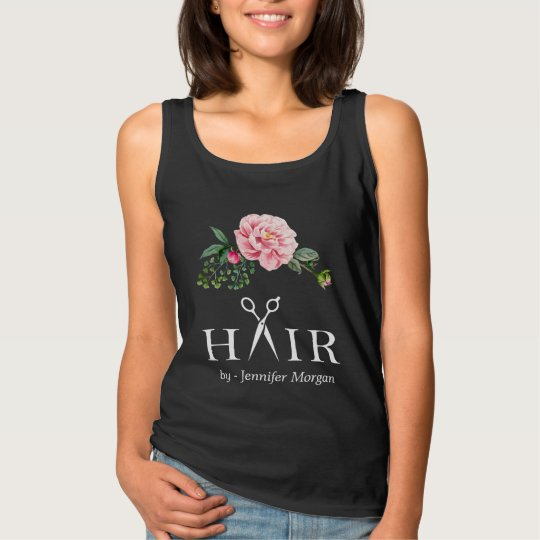 Hair Salon Business Identity Floral Scissors Logo Tank Top