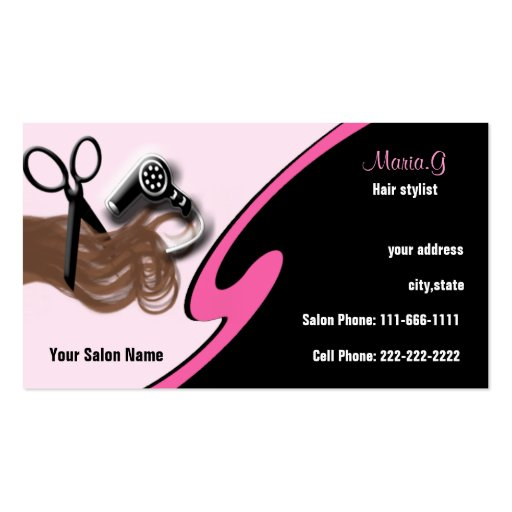 Hair salon businesscards business card template zazzle for Hair salon business cards templates free