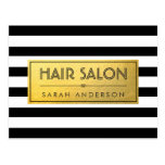HAIR SALON - Gold Label and Black White Stripes Postcard