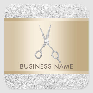 Hair Salon Luxury Silver Glitter Hairstylist Square Sticker
