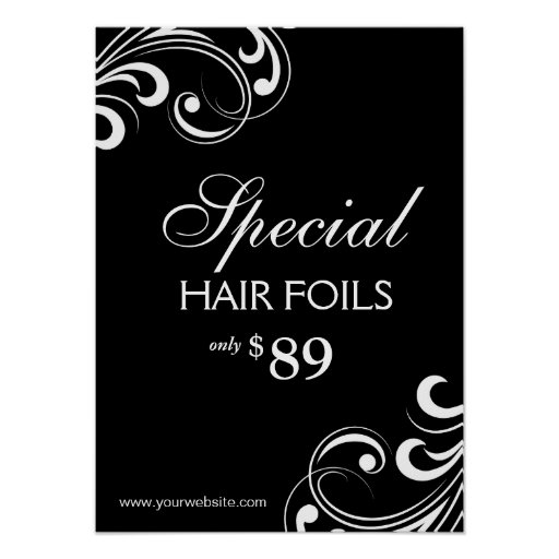HAIR Salon Poster Spa Black & White Swirls