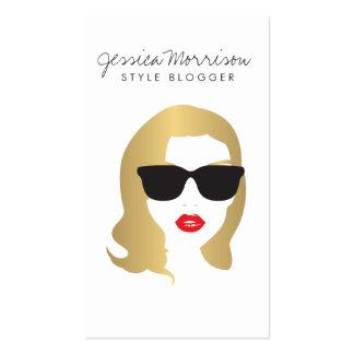 Hair Salon, Style Blogger, Beauty Girl Gold Business Card