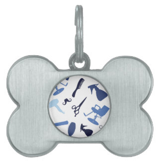Hair salon tools pattern pet tag