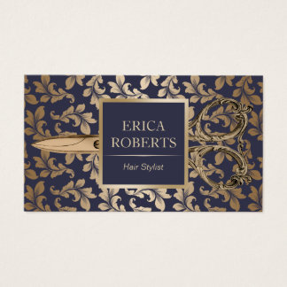 Hair Stylist Antique Gold Scissor Luxury Damask Business Card