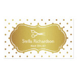 Hair Stylist Appointment - White Gold Glitter Dots Business Card