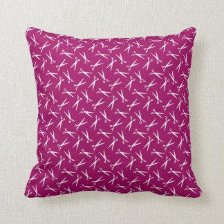Hair Stylist Barber Shop Scissor Pattern Magenta Throw Pillow