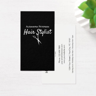 Hair Stylist - Black and White Scissors Business Card