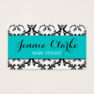 Hair Stylist Business Card Damask Blue