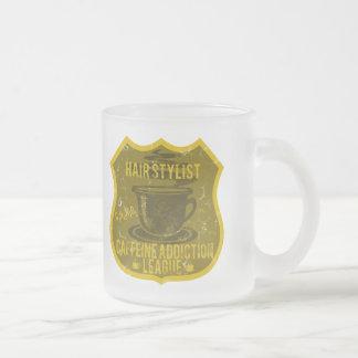 Hair Stylist Caffeine Addiction League Frosted Glass Coffee Mug