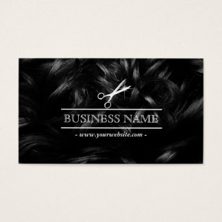 Hair Stylist Chic Curly Hair & Scissor Business Card