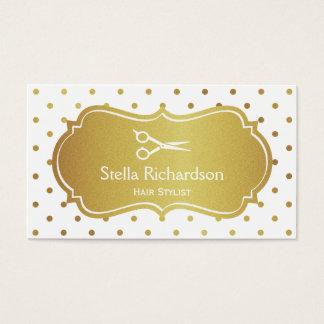 Hair Stylist - Chic White Gold Glitter Polka Dots Business Card