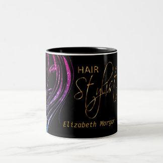 Hair Stylist Colorful Glitter Girl Two-Tone Coffee Mug