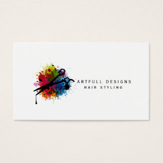 hair stylist colorful paint splatter minimalist business card
