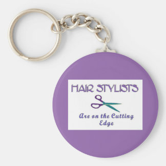 Hair Stylist Cutting Edge Basic Round Button Keychain