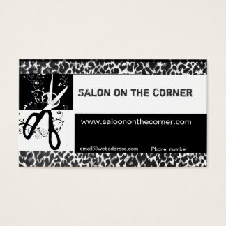 Hair Stylist Cutting Scissors Wild Leopard  Salon Business Card