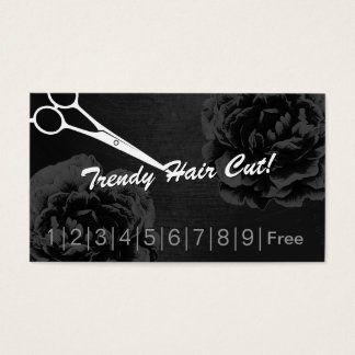 Hair Stylist Elegant Black Floral Loyalty Punch Business Card