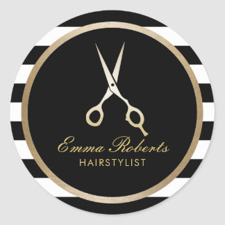 Hair Stylist Elegant Gold Scissor Modern Stripes Round Sticker