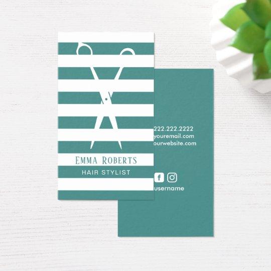 Hair Stylist Elegant Teal Stripes Social Media Business Card