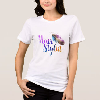 Hair Stylist - Feather Watercolors T-Shirt