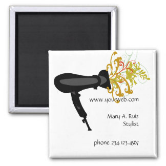 Hair Stylist Flowers Salon Name Tag Square Magnet