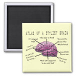 "Hair Stylist Gifts ""Atlas of a Stylist Brain"" Square Magnet"