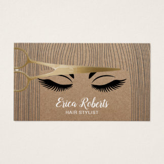 Hair Stylist Gold Scissor & Girl Rustic Kraft Business Card