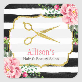 Hair Stylist Gold Scissors Pink Floral Striped Square Sticker