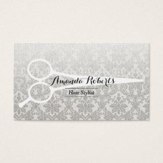 Hair Stylist Gray Damask Elegant Linen & Scissor Business Card