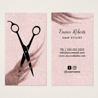 Hair Stylist Hair & Scissor Elegant Blush Pink Business Card