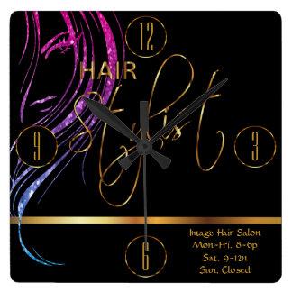 Hair Stylist in a Girly Glitter Haircolor Clock