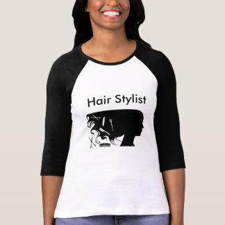 Hair Stylist Ladies T-shirt w/ Black Sleeves