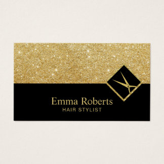 Hair Stylist Modern Black & Gold Glitter Salon Business Card