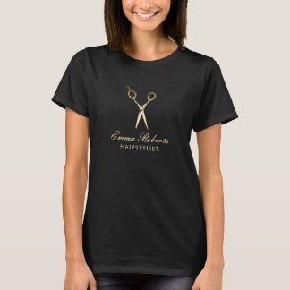 Hair Stylist Modern Gold Scissor Hair Salon T-Shirt