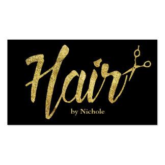 Hair Stylist Modern Gold Script Salon Appointment Business Card