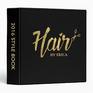 Hair Stylist Modern Gold Script Salon Style Book Binder