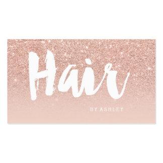 Hair stylist modern typography blush rose gold business card